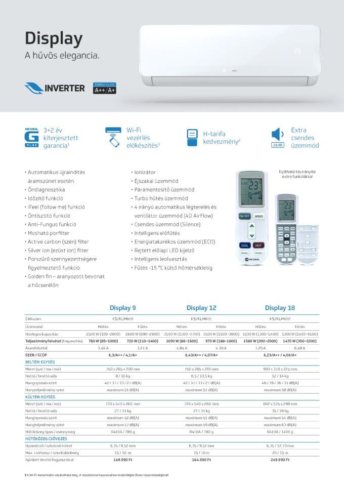 Rcool Display oldalfali inverteres klíma műszaki adatlap