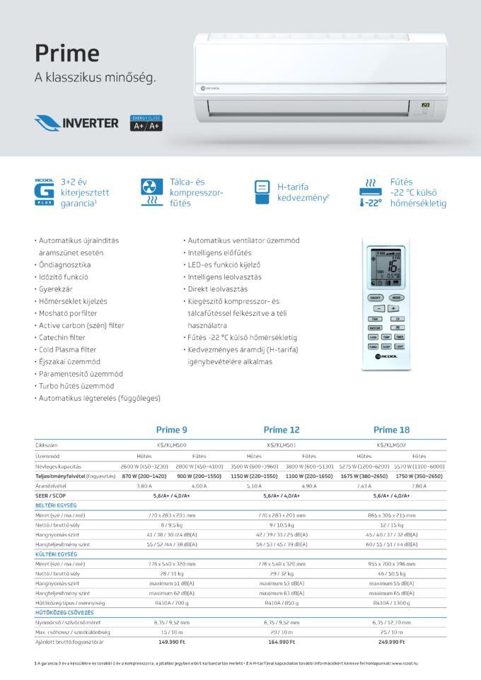 Rcool Prime oldalfali inverteres klíma műszaki adatlap